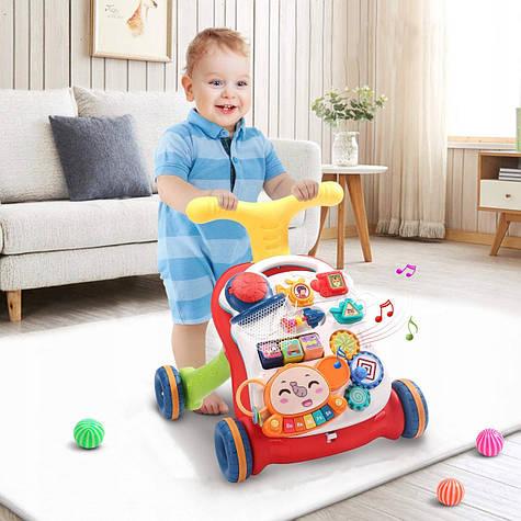 Детские многофункциональные развивающие ходунки  Baby Walker 3 в 1 красные