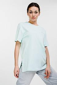 Женская удлиненная мятная футболка с надписью Mood