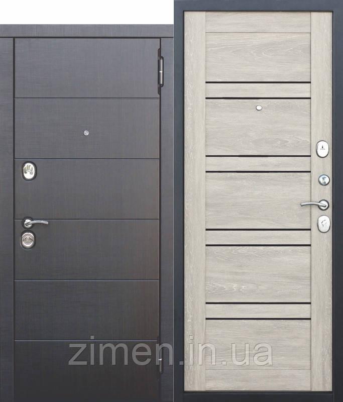 Вхідні металеві двері 10,5 см Чикаго Царга дуб шале білий з МДФ панелями