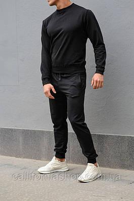 Спортивный костюм мужской черный легкий двунитка свитшот со штанами