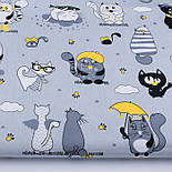 """Клапоть тканини """"Коти з крилами і жовтим парасолькою"""", №3167, розмір 40*80 см, фото 2"""