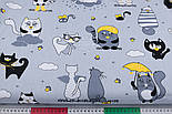 """Лоскут ткани """"Коты с крыльями и жёлтым зонтиком"""", №3167, размер 40*80 см, фото 3"""