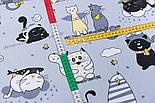 """Клапоть тканини """"Коти з крилами і жовтим парасолькою"""", №3167, розмір 40*80 см, фото 4"""