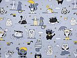"""Клапоть тканини """"Коти з крилами і жовтим парасолькою"""", №3167, розмір 40*80 см, фото 5"""