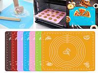 Силиконовый коврик Protech для раскатки и выпечки теста 40 х 30 см (микс цветов) (7466)