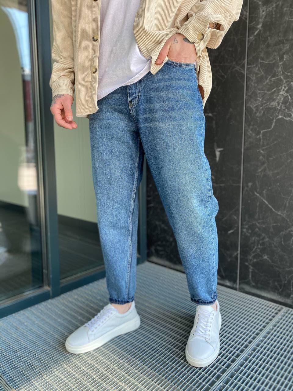 Чоловічі джинси прямі МОМ синього кольору