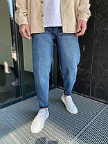 Чоловічі джинси прямі МОМ синього кольору, фото 2