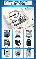 Лента для принтера этикеток Epson LabelWorks LK5TBW Strng adh Blk/Clear 18/8 (C53S655011), фото 3