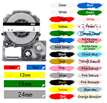 Лента для принтера этикеток Epson LabelWorks LK5SBE Matte Blk/MattSiv 18/8 (C53S655013), фото 2