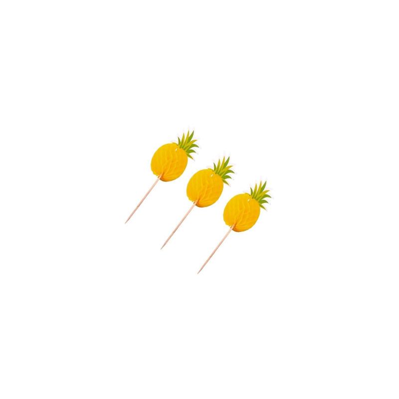 """Топперы для торта """"Ананасы"""" 3D (6 шт.)"""