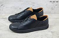 Мужские кожаные кеды Черные Moris, фото 1