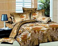 Евро комплект постельного белья коричневый из полиэстера «Этно Роза»