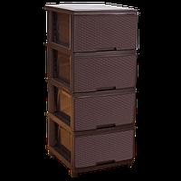 Комод на 4 ящика (Ротанг, темно-коричневый)