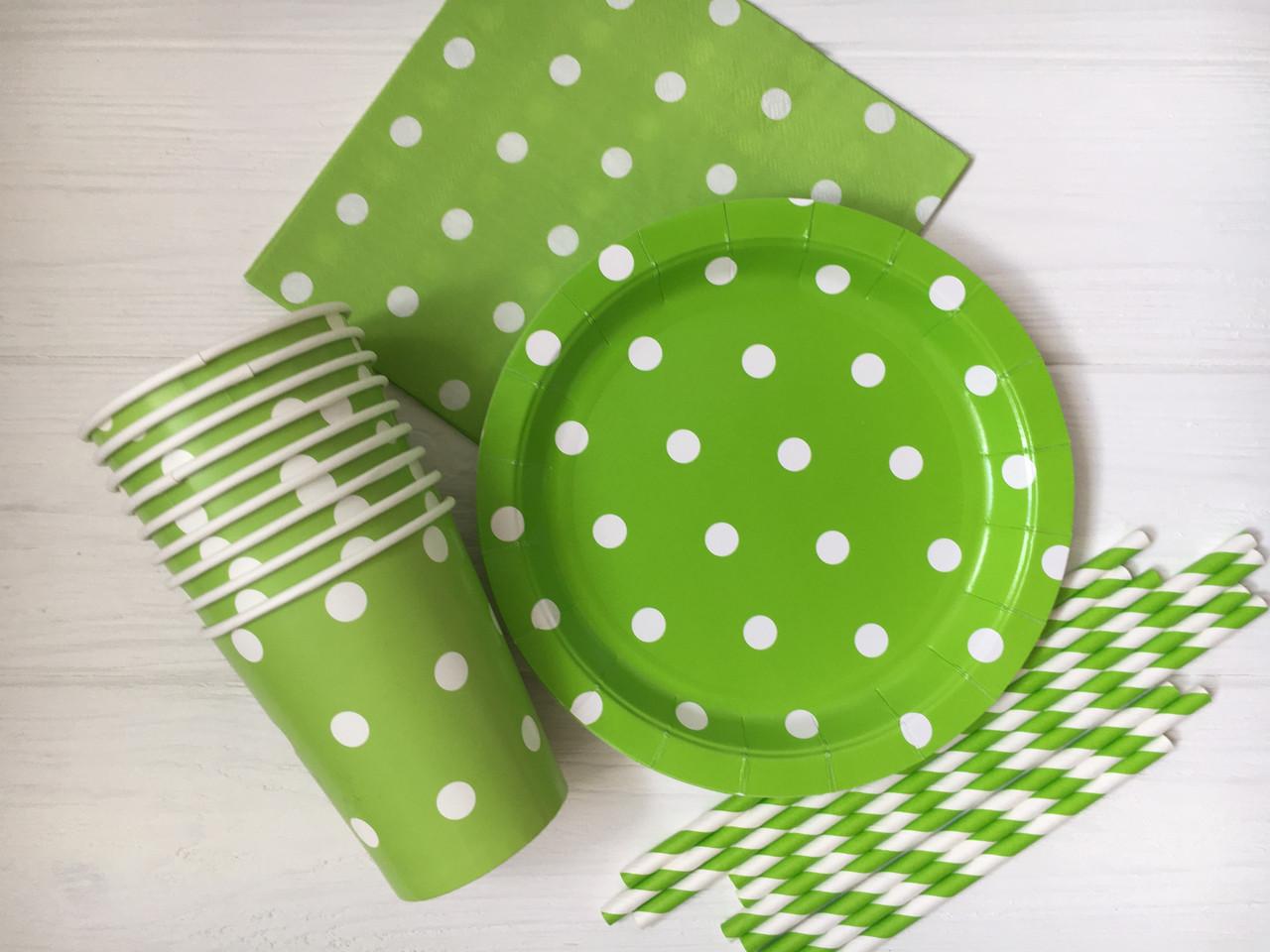 """Набір паперової посуду - тарілочки, стаканчики,серветки і трубочки """"Green Dots"""" (40 шт.)"""