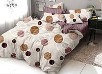 Двуспальный комплект постельного белья Круги молочные 178х215 см из полиэстера
