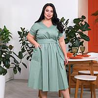 Летнее льняное платье миди большого размера, фото 1