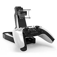 Підставка-зарядка для джостиков PS5. Подвійна зарядна станція для Геймпадів DualSense PS5, фото 1