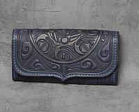"""Кожаный синий кошелек ручной работы с тисненым орнаментом """"Триполье"""""""