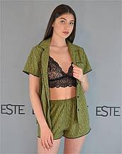 Пижама тройка рубашка шорты и кружевной бюстгальтер Este 227-1 оливковый.