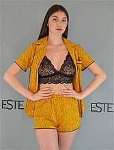 Пижама тройка Este рубашка шорты и кружевной топ 227-1 горчица.