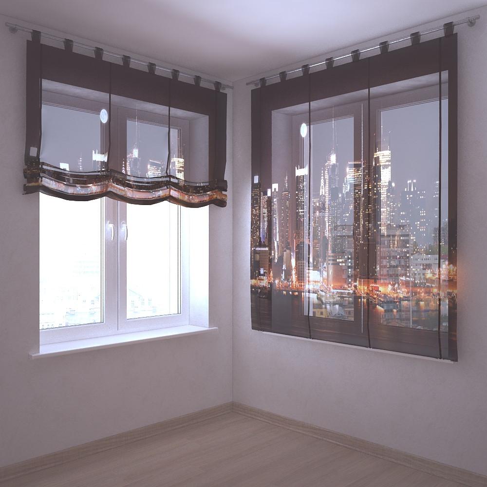 Шторы с фотопечатью 3д светящиеся небоскребы