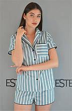 Пижама хлопковая стильная в полоску рубашка и шорты с кантом ТМ Este 608.