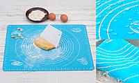 Силиконовый коврик  для раскатки и выпечки теста 40 х 30 см Blue