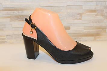 Босоножки женские черные на каблуке Б1109