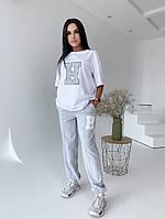 Женский стильный костюм футболка и штаны, фото 1