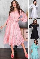 Женское  летнее платье из натуральной прошвы  миди до  70 размера