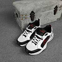 Мужские кроссовки Nike Air Monarch (черно-белые с красным) О10455 модная обувь на летний сезон