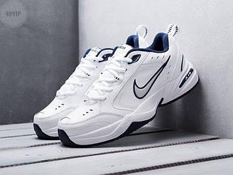 Мужские кроссовки Nike Air Monarch IV (белые с синим) спортивная стильная обувь 489TP
