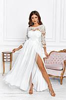 Шикарное длинное белое платье с гипюром 42 44 46