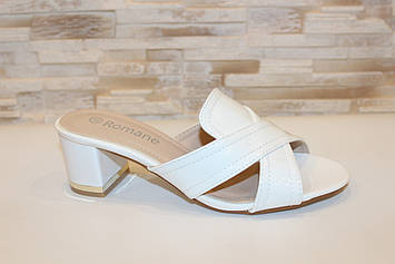 Шлепанцы женские белые на каблуке Б1110