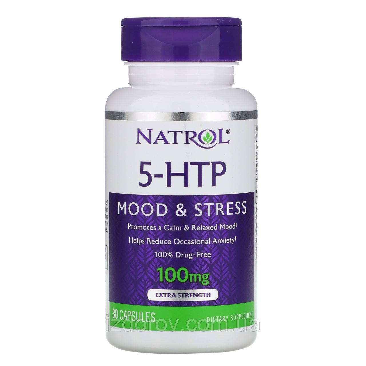 Natrol, 5-HTP, 100 мг, 5-гідрокси L-триптофан, 30 капсул