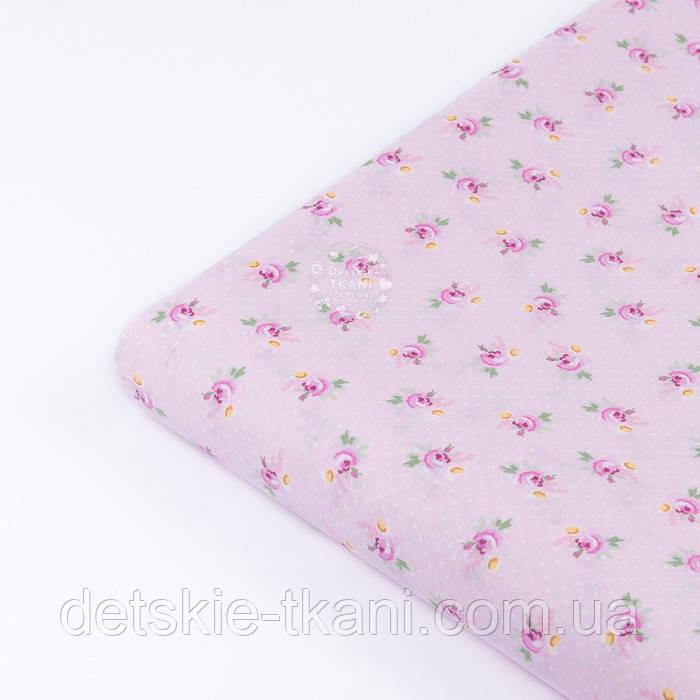 """Клапоть попліну """"Дрібні рожеві трояндочки і білі точки на рожевому"""" (№3346), розмір 34*120 см"""
