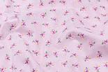 """Клапоть попліну """"Дрібні рожеві трояндочки і білі точки на рожевому"""" (№3346), розмір 34*120 см, фото 4"""