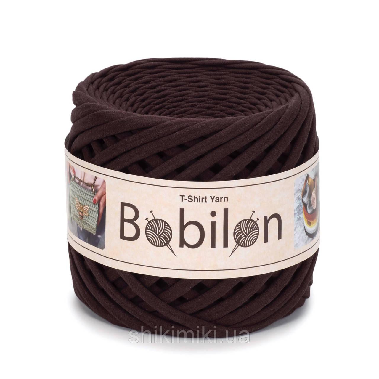 Пряжа трикотажна Bobilon (5-7 мм), колір Шоколад