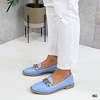 Шкіряні блакитні туфлі пром