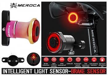 MEROCA Kinetic MX2 PINK Умный Велосипедный Фонарь+Автостоп и Авторежим (100LM, 500mAh, LED*20, USB, IPX6)