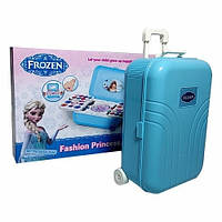Детский набор декоративной косметики чемодан косметичка на колесах Frozen лак для ногтей, блеск для губ, тени