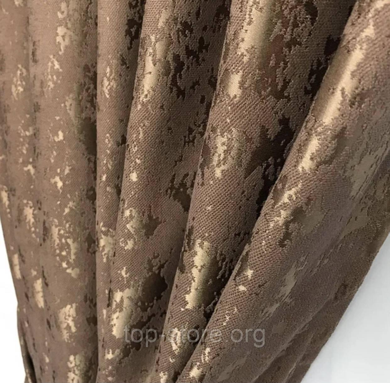 Готовые мраморные шторы Комплект штор з подхватами Шторы под мрамор Шторы 200х270 Цвет Коричневый