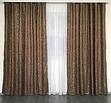 Готовые мраморные шторы Комплект штор з подхватами Шторы под мрамор Шторы 200х270 Цвет Коричневый, фото 3