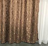 Готовые мраморные шторы Комплект штор з подхватами Шторы под мрамор Шторы 200х270 Цвет Коричневый, фото 5