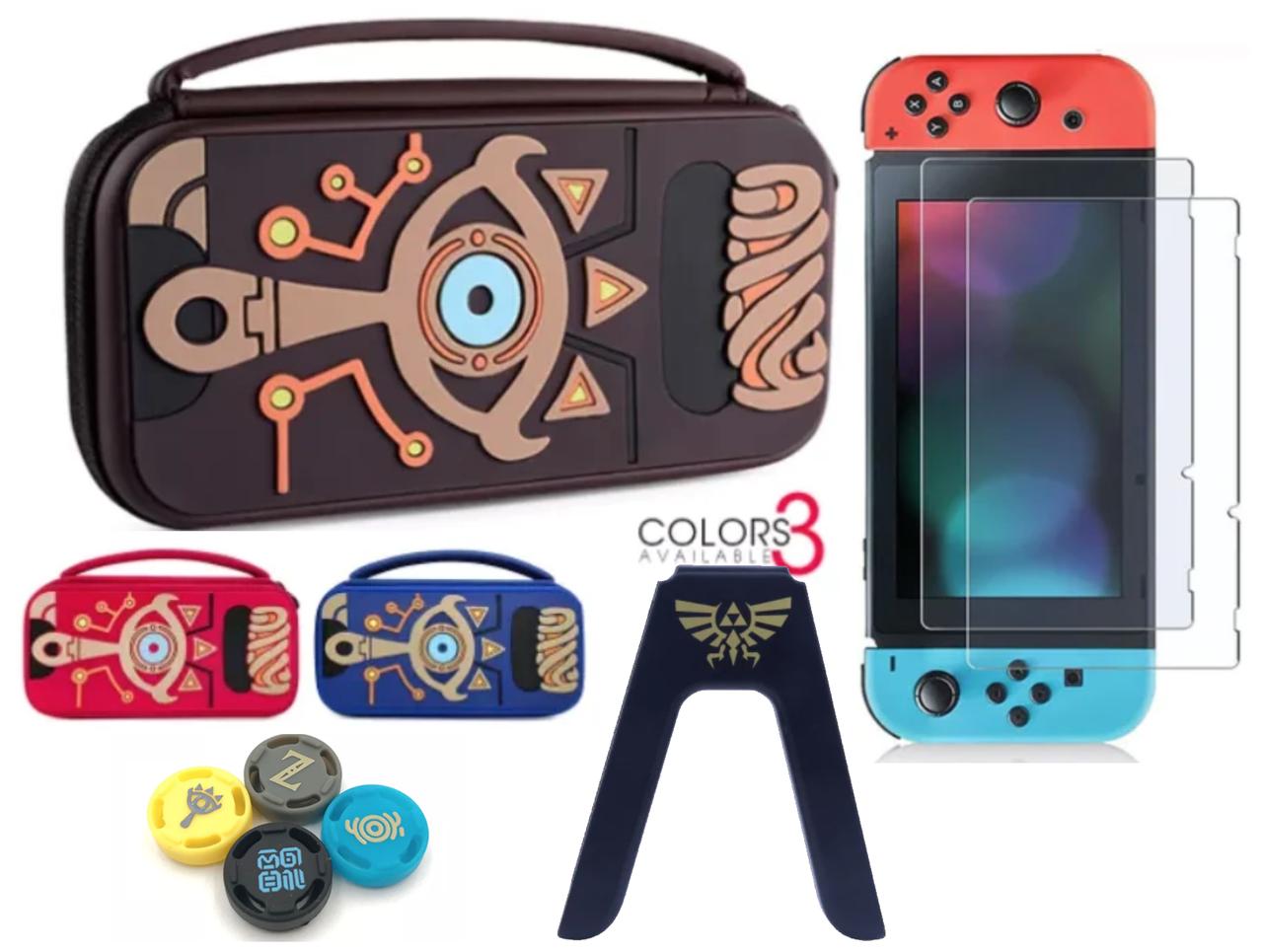 Комплект Мега Deluxe Zelda для Nintendo Switch кейс + накладки + тримач + скло