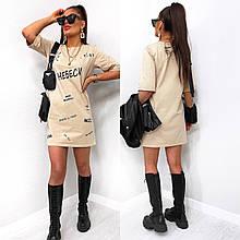 Летнее стильное мини платье футболка с надписями впереди. Черное, бежевое, белое  42-44,44-46,46-48