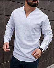 Стильная льняная рубашка мужская. Синяя, белая, черная, голубая