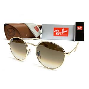 Солнцезащитные Очки R-B Round Metal 3447 Золото Минеральное Стекло
