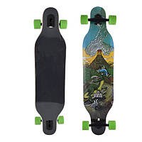 Скейт деревянный 880, наждак, колёса PU, (Канадский клен) Дракон