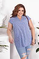 Блузка женская летняя большой размер 746.0 (56 58 60 62) (цвета: синий, мята, пудра) СП, фото 1
